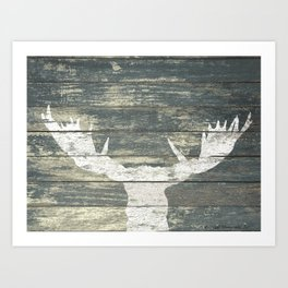 Rustic White Moose Silhouette A424a Art Print