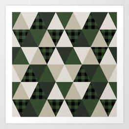 Hunter Green camping cabin glamping cheater quilt baby nursery gender neutral Art Print