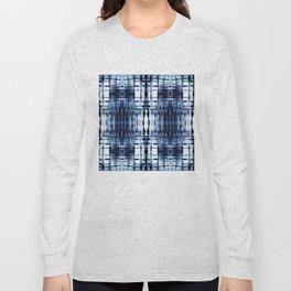 Blue Shibori Plaid Long Sleeve T-shirt