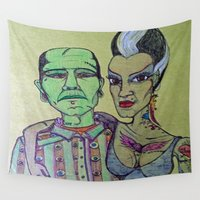 rockabilly Wall Tapestries featuring Frankenstein Frankenbride Rockabilly by Just Bailey Designs .com