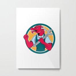 Red Dragon Mechanic Spanner Fist Pump Circle Metal Print