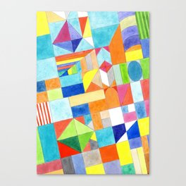 Playful Colorful Architectural Pattern Canvas Print