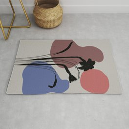 Daffodils Flower abstract Mid Century Design - grey Rug