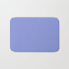 Cobalt Blue and White Houndstooth Check Pattern Bath Mat