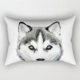 Siberian Husky dog with two eye color Dog illustration original painting print Rectangular Pillow