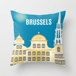 Brussels, Belgium - Skyline Illustration by Loose Petals Throw Pillow