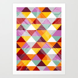 Triagles warm Art Print