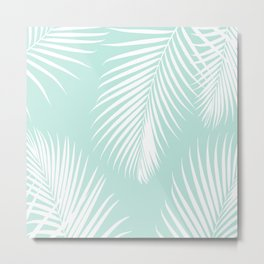 Mint Tropical Pattern Metal Print
