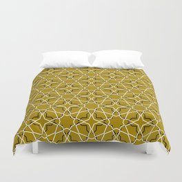 Moroccan pattern, Morocco. Patchwork mosaic with traditional folk geometric ornament black gold. Duvet Cover