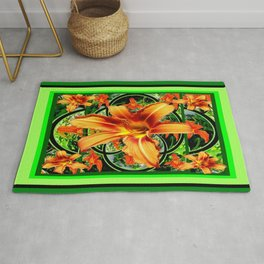 Old Fashioned Orange Day Lilies  Garden Pattern Rug