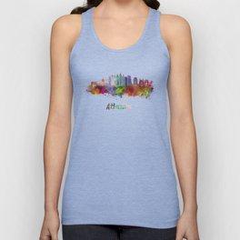 Atlanta V2 skyline in watercolor Unisex Tank Top