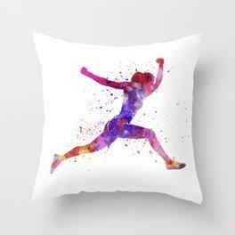 Woman runner running jumping shouting Throw Pillow
