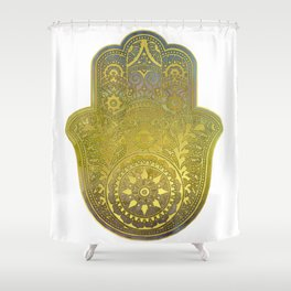 Colorful Watercolor And Gold Hamsa Hand - II Shower Curtain