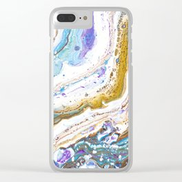 Abstract contemporary painting art, galaxy, fluid painting, space, universe purple pink blue Clear iPhone Case