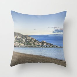 Panorama of Roses town and beach, Costa Brava, Cataluna, Spain Throw Pillow