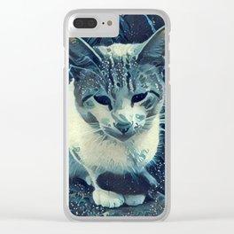 Blue Cat Clear iPhone Case