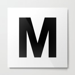 Letter M (Black & White) Metal Print