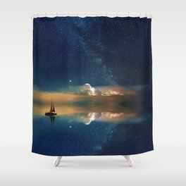 Sailboat in Space (Color) Shower Curtain