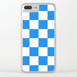 Large Checkered - White and Dodger Blue Clear iPhone Case