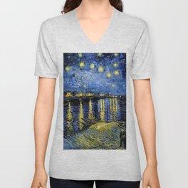 Van Gogh Starry Night Over the Rhône Unisex V-Neck