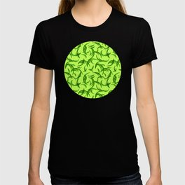 Green floral ornament of leaves and foliage. T-shirt