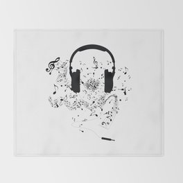 Headphones and Music Notes Throw Blanket