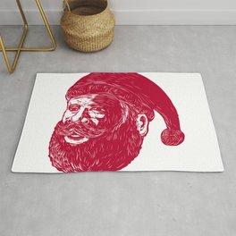 Santa Claus Head Woodcut Rug