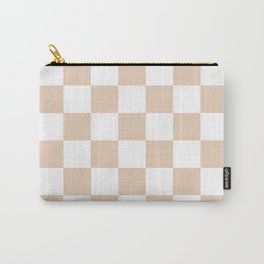 Checkered - White and Pastel Brown Carry-All Pouch