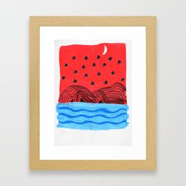 Red sea night Framed Art Print