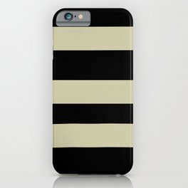 Natural Olive Green - Martinique Dawn - Asian Silk Hand Drawn Fat Horizontal Lines on Black iPhone Case