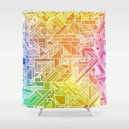 Bright Gradient (Hot Pink Orange Green Yellow Blue) Geometric Pattern Print Shower Curtain