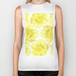Yellow Peony Flower Pattern Biker Tank