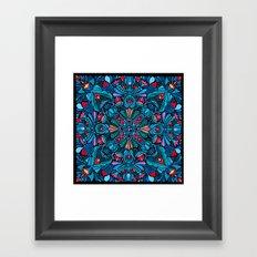 Pink, light blue floral mandala on black  Framed Art Print