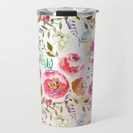 blush pink peonies watercolor fuchsia flowers Travel Mug