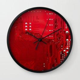 red electronic circuit board Wall Clock