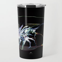 Rat and rainbow. multicolored on dark background - (Red eyes series) Travel Mug