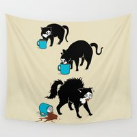 coffee Wall Tapestries featuring Coffee Cat by Boots