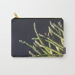 Fresh green asparagus on a black metal background   Food photography  Carry-All Pouch