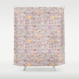 Seamless pattern world crowded with funny cats Shower Curtain