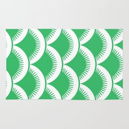 Japanese Fan Pattern Green Rug