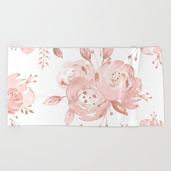 Roses Rose Gold Glitter Pink by Nature Magick Beach Towel
