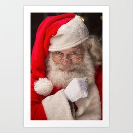 A confident looking Santa Claus looking at the camera Art Print