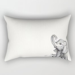 tiny elephant sitting in the corner Rectangular Pillow