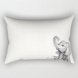 tiny elephant sitting in the corner Rectangular Pillow
