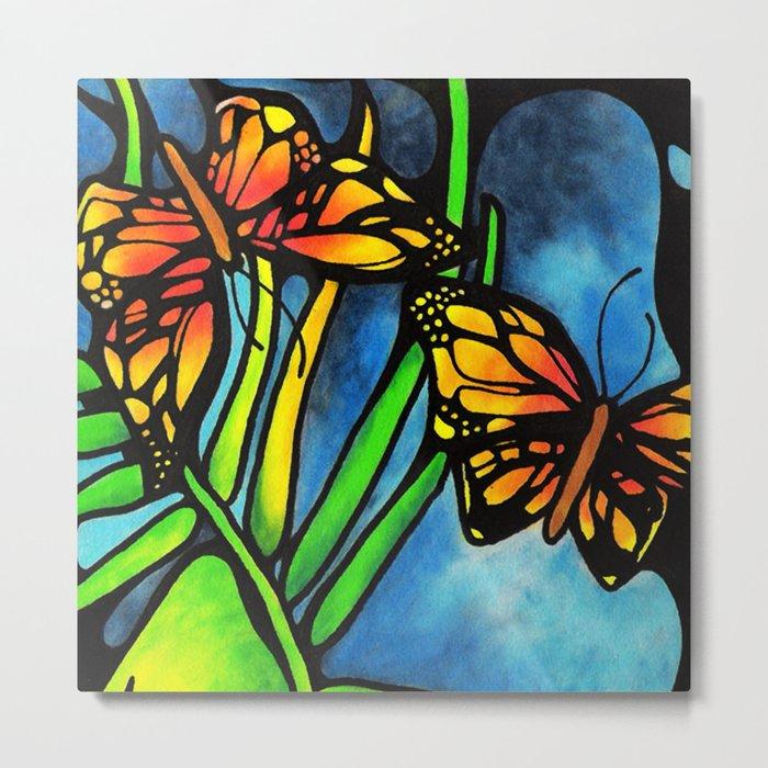 Beautiful Monarch Butterflies Fluttering Over Palm Fronds by annmariescreations Metal Print