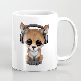 Cute Red Fox Cub Dj Wearing Headphones on Blue Coffee Mug
