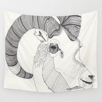 ram Wall Tapestries featuring Rad Ram by Rebzthebebz