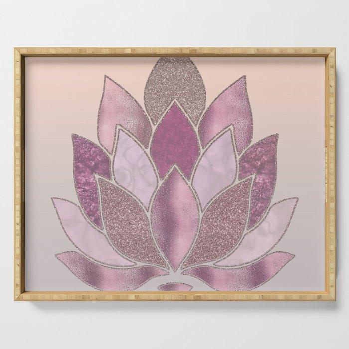 Elegant Glamorous Pink Rose Gold Lotus Flower Serving Tray