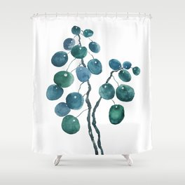 Chinese money plant watercolor Shower Curtain