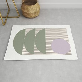 Lines and Shapes in Moss and Lilac Rug